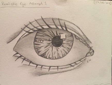 Realistic Eye Attempt 1: I am focusing on the eyes aspect first because I want to feel confident in drawing any eye shape wither its almond eyes or upturned / downturned eyes. I am going to be attempting them in colour as well as sizes and styles. My goal is to master each facial structure so that when I do attempt to re-draw a female face I would be more confident in what I am drawing.